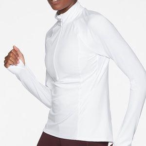 NWT Athleta white half Zip Athletic Top